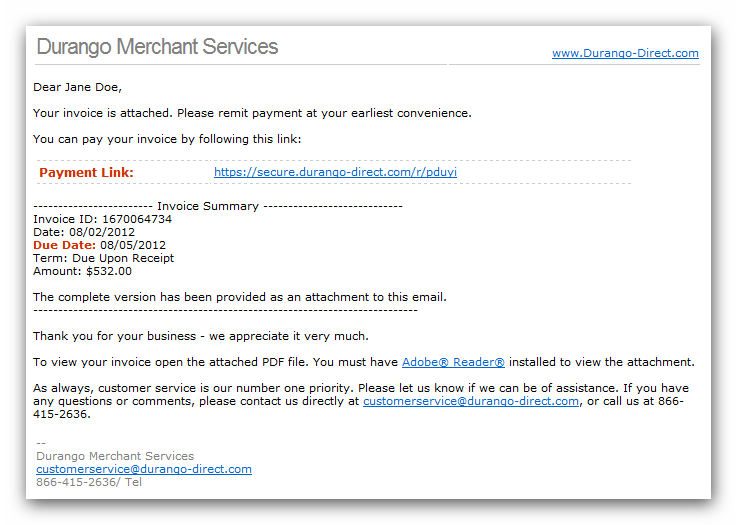 Durangopaymentgatewayemailinvoicesample High Risk Merchant - How to email an invoice