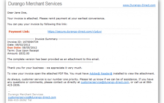 Durango Payment Gateway Email Invoice Sample